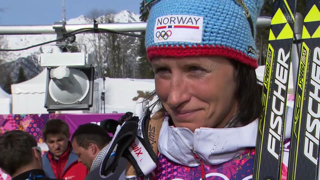 Langlauf: 30km der Frauen, Interview mit Marit Björgen (englisch, sotschi direkt, 22.2.2014)