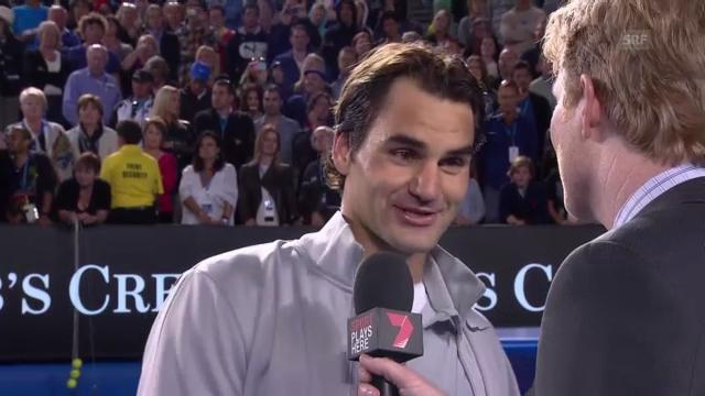 Roger Federer im Platzinterview (auf englisch)