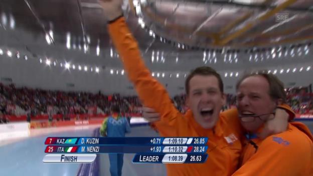 Video «Eisschnelllauf: Zusammenfassung 1000-m-Final der Männer (12.02.2014)» abspielen