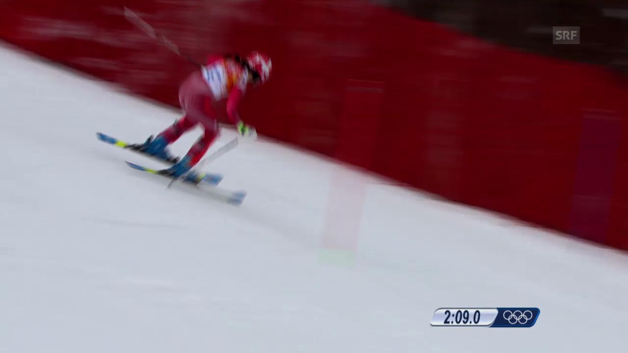 Ski: Kombi-Slalom Frauen, Fahrt Dominique Gisin (sotschi direkt, 10.2.2014)