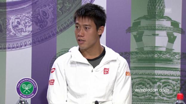 Video «Tennis: Wimbledon 2015, Nishikori erklärt seinen verletzungsbedingten Ausfall» abspielen