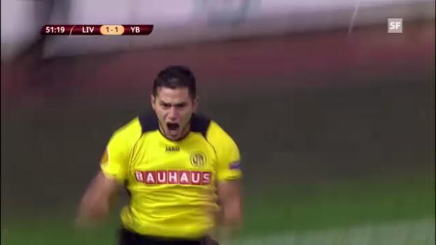 Video «Bobadillas Tor in der Europa League gegen Liverpool» abspielen