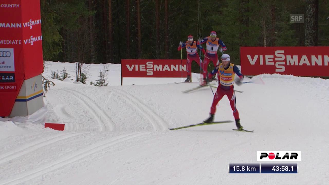 Langlauf: Skiathlon 30km Lillehammer, Sundy setzt sich ab