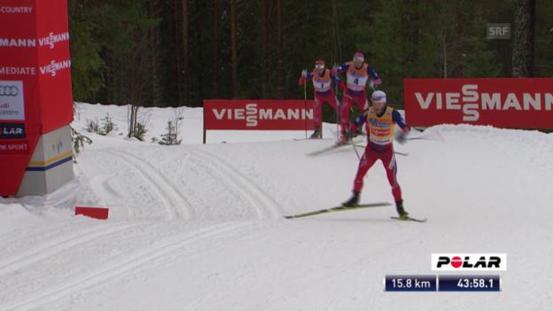 Video «Langlauf: Skiathlon 30km Lillehammer, Sundy setzt sich ab» abspielen