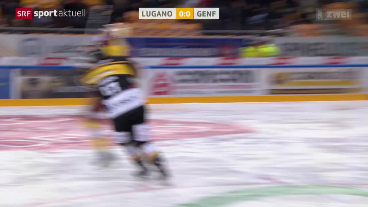 Eishockey: Lugano-Genf, Check von Traber