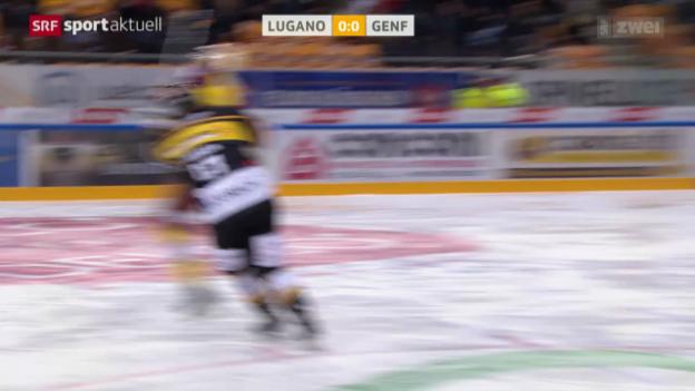 Video «Eishockey: Lugano-Genf, Check von Traber» abspielen