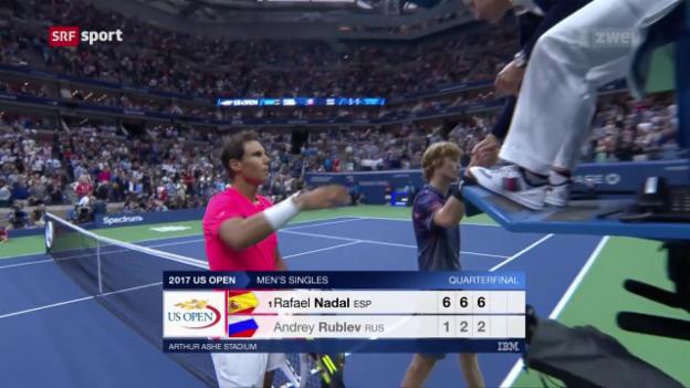 Video «Nadal zieht im Schongang in die Halbfinals ein» abspielen