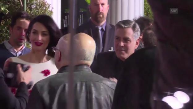 Video «Amal & George Clooney auf dem roten Teppich» abspielen