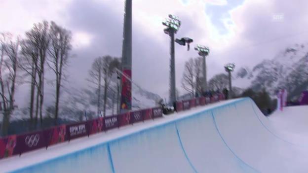 Video «Snowboard: Halfpipe Männer, Quali, 1. Run Ayumu Hirano (sotschi direkt, 11.2.2014)» abspielen