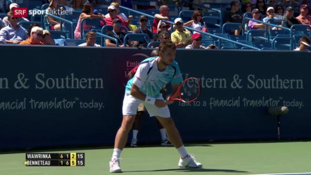 Video «Tennis: Stan Wawrinka scheitert an Julien Benneteau» abspielen