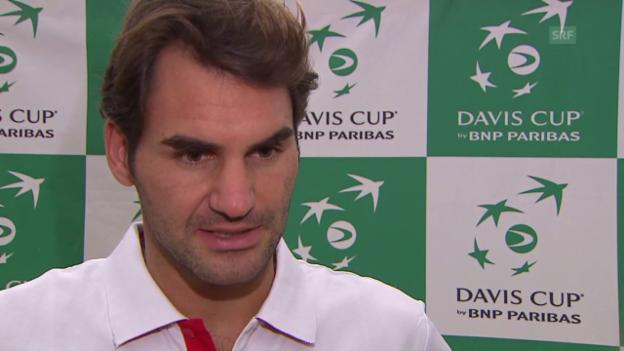 Video «Tennis: Davis Cup, Schweiz - Niederlande, Interview Federer» abspielen