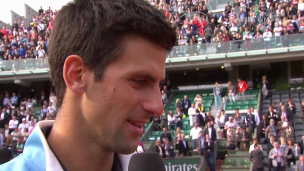 Video «Tennis: French Open, 1/4, Djokovic nach Sieg über Raonic» abspielen