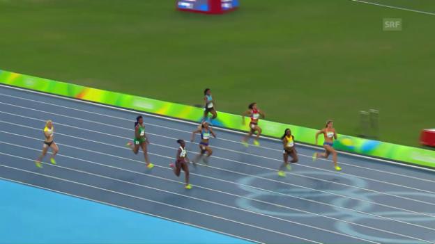 Video «Der Halbfinal-Lauf von Kambundji» abspielen