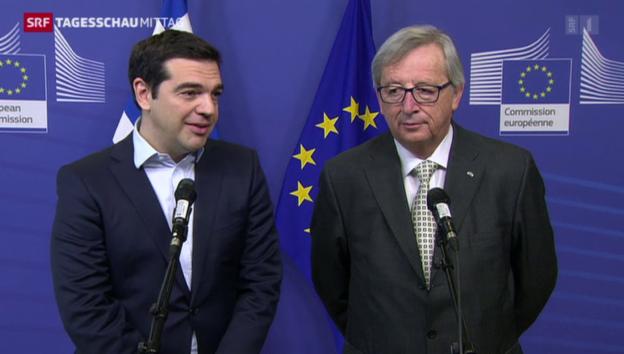 Video «Griechenland quo vadis? Tsipras zu Besuch in Brüssel» abspielen