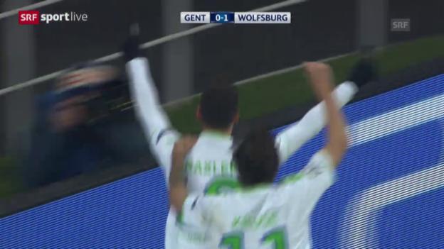 Video «Wolfsburg siegt bei Gent» abspielen