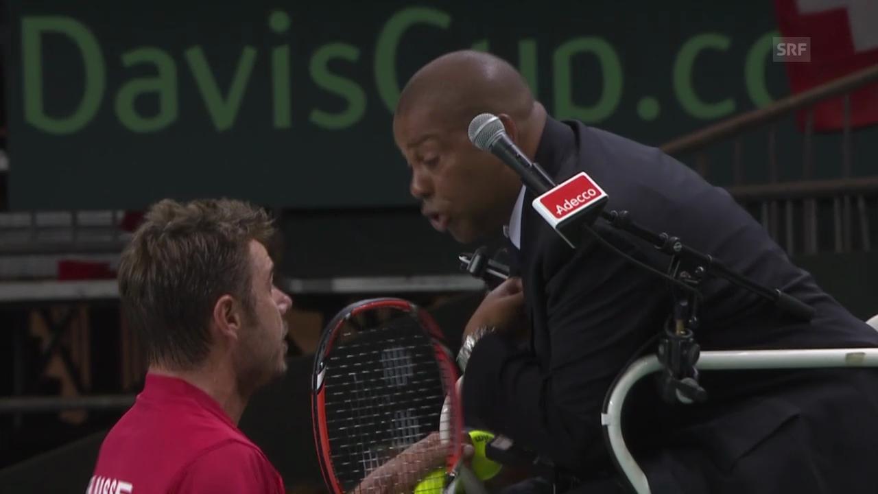 Tennis: Stanislas Wawrinkas Ausraster nach einer Schiedsrichter-Fehlentscheidung