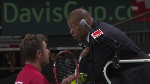 Video «Tennis: Stanislas Wawrinkas Ausraster nach einer Schiedsrichter-Fehlentscheidung» abspielen