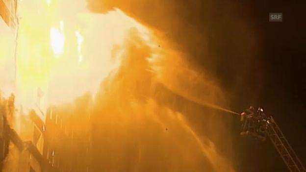 Video «Grossbrand im russischen Grosny (unkommentiert)» abspielen