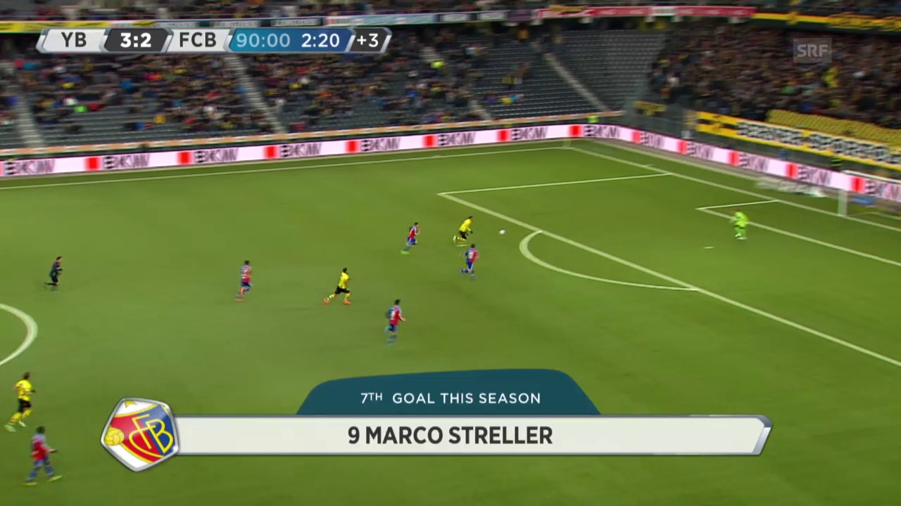 Fussball: Super League, YB - Basel, Hoaraus Tor zum 4:2