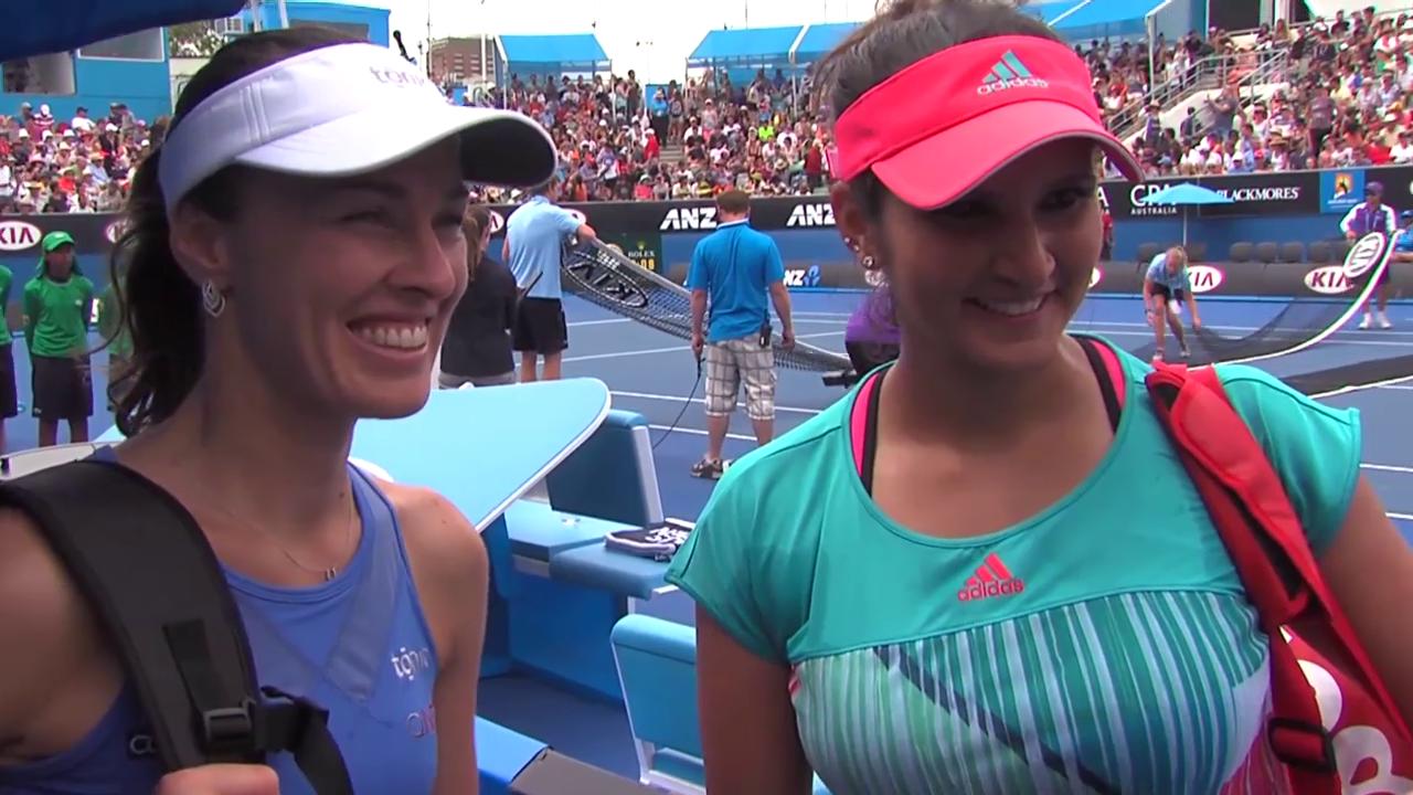 Martina Hingis und Sania Mirza nach ihrem 1. Auftritt an den Australian Open