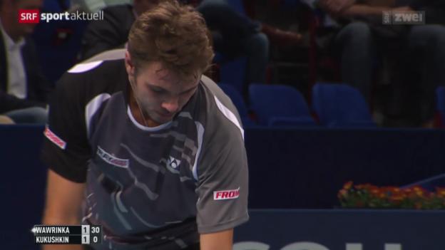 Video «Tennis: Swiss Indoors, Wawrinka - Kukuschkin» abspielen
