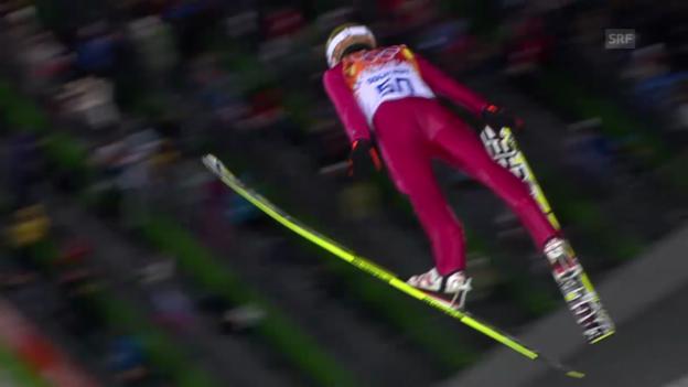 Video «Skispringen: Normalschanze, 1. Sprung Stoch (sotschi direkt, 9.2.2014)» abspielen