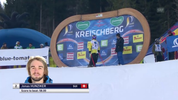 Video «Freeski: Freestyle-WM – Slopestyle 1. Final-Lauf Jonas Hunziker» abspielen