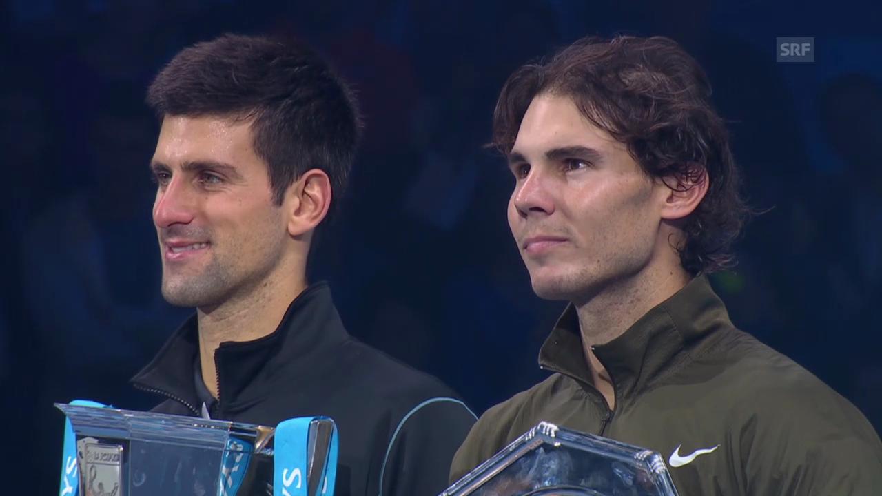 Siegerehrung und Ansprache Djokovic