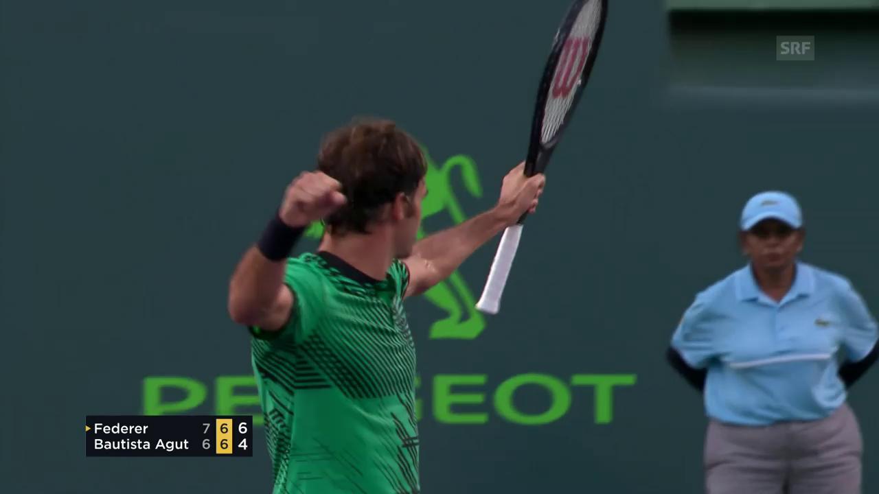 Federer behauptet sich gegen Bautista Agut