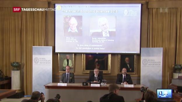 Video «Wirtschaftsnobelpreis für Hart und Holmström» abspielen