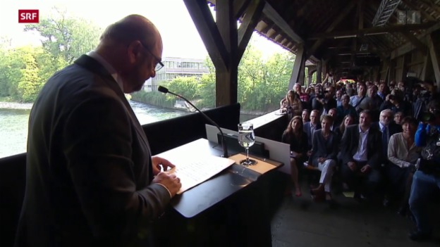 Video «Martin Schulz besucht SP-Wahlfest» abspielen