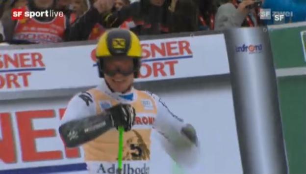 Video «Riesenslalom Adelboden: 2. Lauf von Marcel Hirscher» abspielen