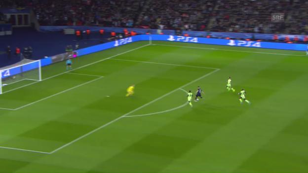 Video «PSG-Stürmer Ibrahimovic scheitert alleine vor Manchester-City-Torhüter Joe Hart» abspielen