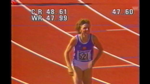 Video «Leichtathletik: 400-m-Weltrekord von Marita Koch 1985» abspielen