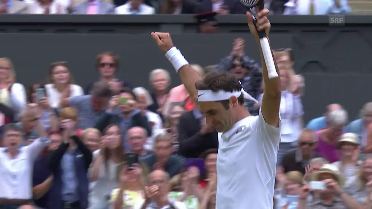 Federer verwertet seinen 1. Matchball