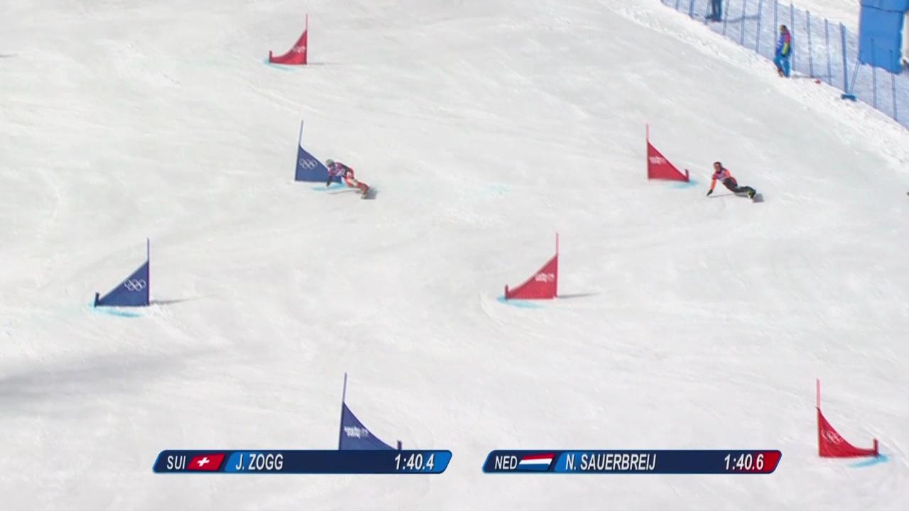 Snowboard: Parallel-RS, Qualifikation, 2. Lauf von Julie Zogg (sotschi direkt, 19.2.14)
