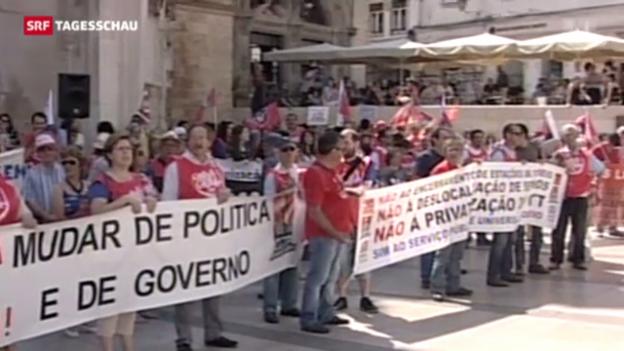 Video «Generalstreik gegen Sparwut legt Portugal lahm» abspielen