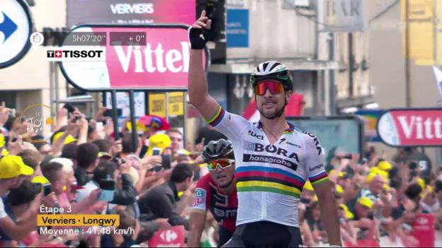 Video «Sagan gewinnt die 3. TdF-Etappe im Sprint» abspielen