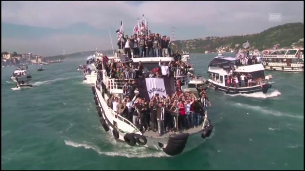 Video «Im Stadion & auf dem Schiff: Besiktas feiert den Meistertitel» abspielen