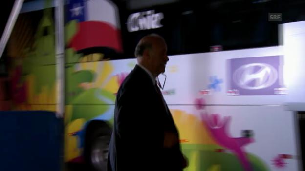 Video «Fussball: WM 2014, ESP-CHI, Del Bosque will in Chile-Bus steigen» abspielen