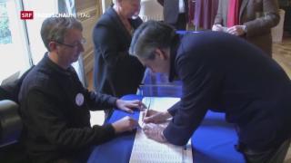 Video «Fillon gewinnt parteiinterne Stichwahl » abspielen