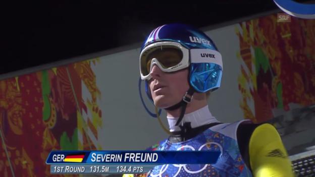 Video «Skispringen: Teamwettbewerb Männer, Sprung von Severin Freund (sotschi direkt, 17.2.2014)» abspielen