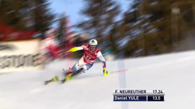 Video «Ski: Weltcup Männer, Slalom Are, 1. Lauf Daniel Yule» abspielen