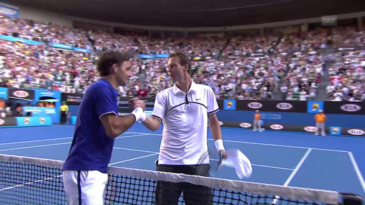 Federer wirft 2009 Berdych aus dem Melbourne-Turnier