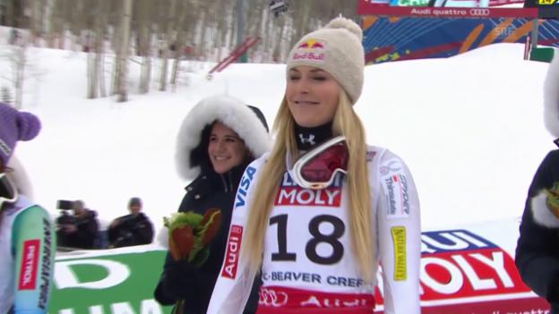 Video «Ski: WM, Super-G Frauen, 3. Platz Lindsey Vonn» abspielen