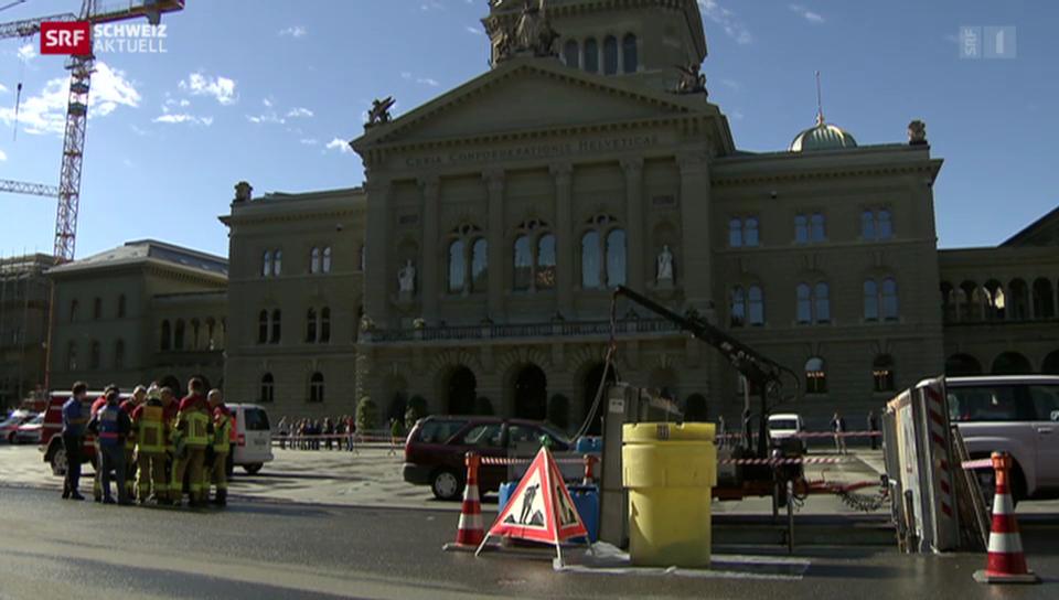 Bundesplatz wegen Chemie-Unfall gesperrt