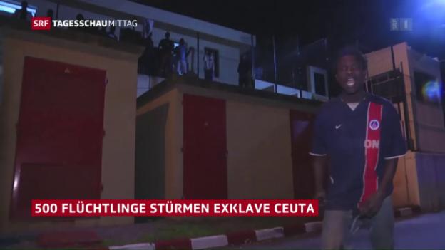 Video «Rund 500 Flüchtlinge überwinden Grenzzaun in Ceuta» abspielen