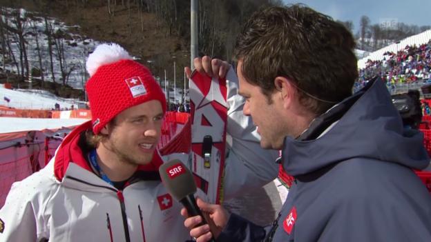 Video «Ski: Riesenslalom Männer Sotschi, Interview mit Mauro Caviezel (sotschi direkt, 19.2.14)» abspielen