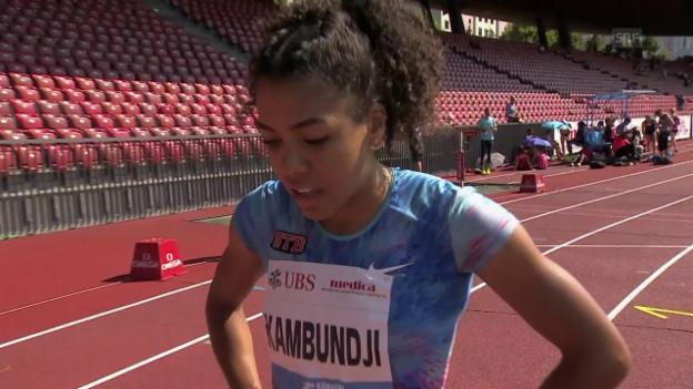 Video «Kambundji schlägt Sprunger über 200 m» abspielen