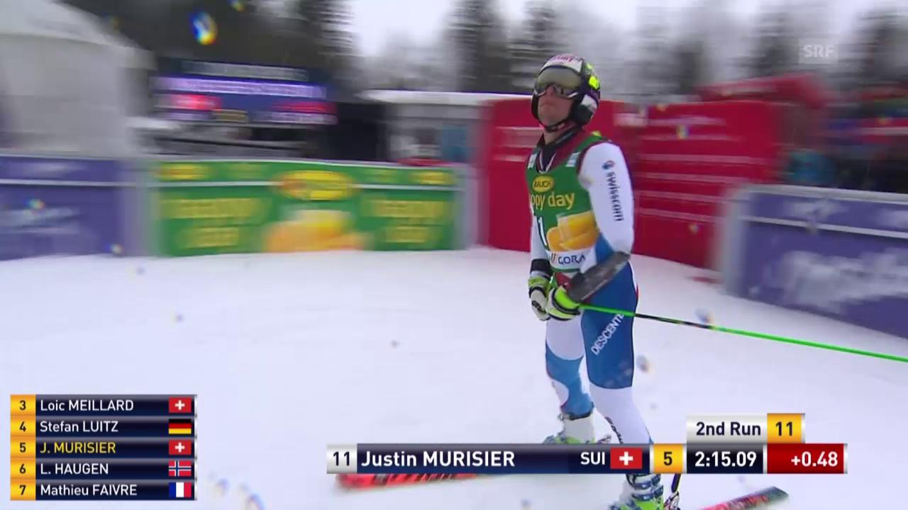 Justin Murisier kann sich im 2. Lauf nicht verbessern